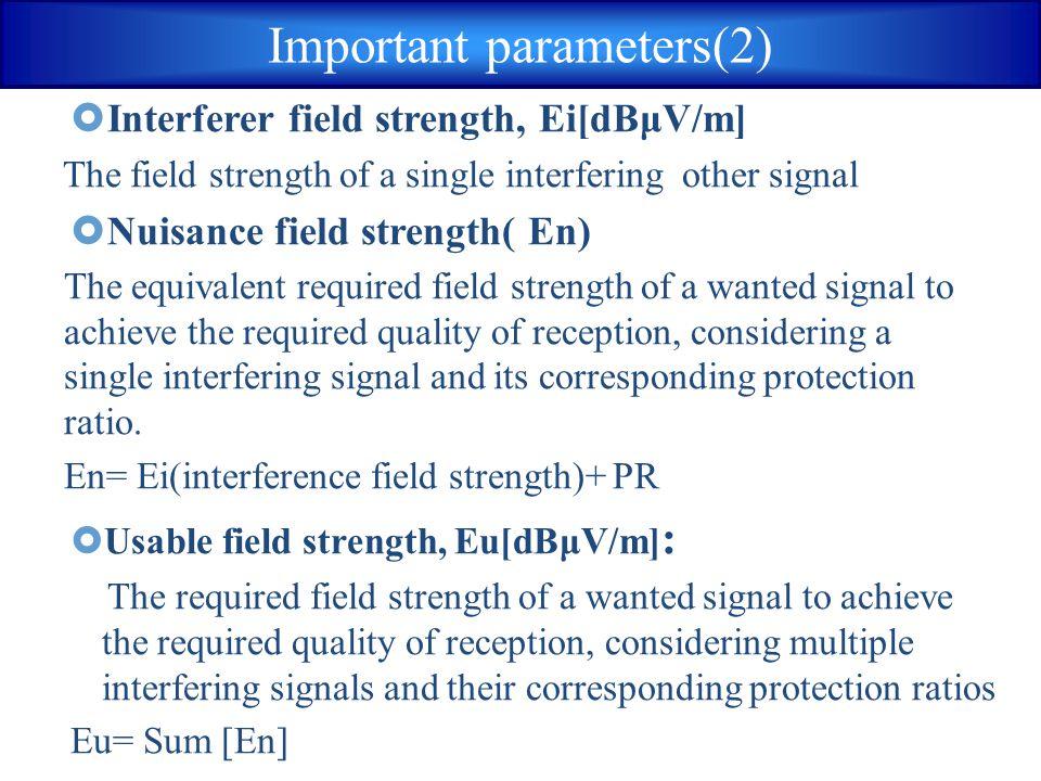 Important parameters(2)