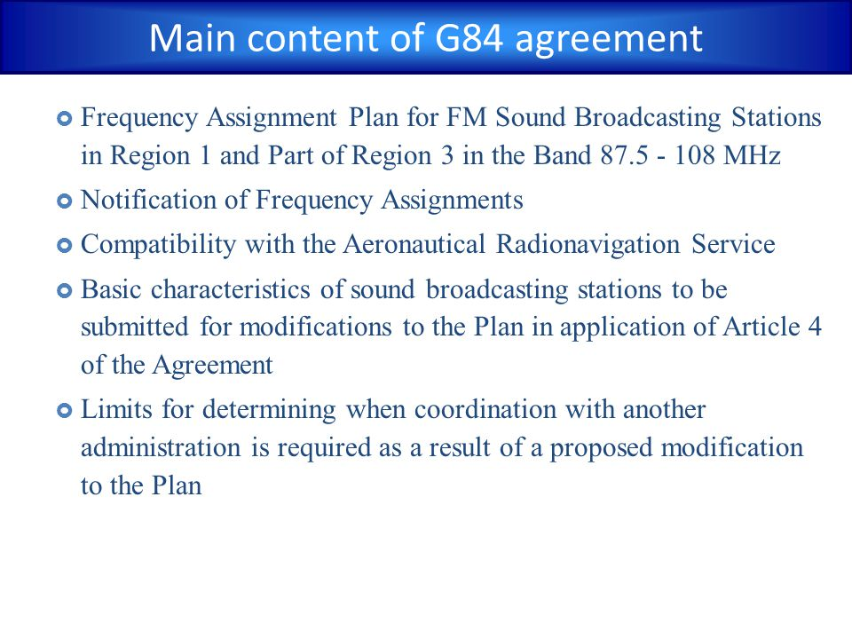 Main content of G84 agreement