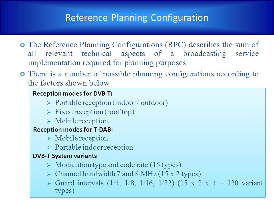 Reference Planning Configuration