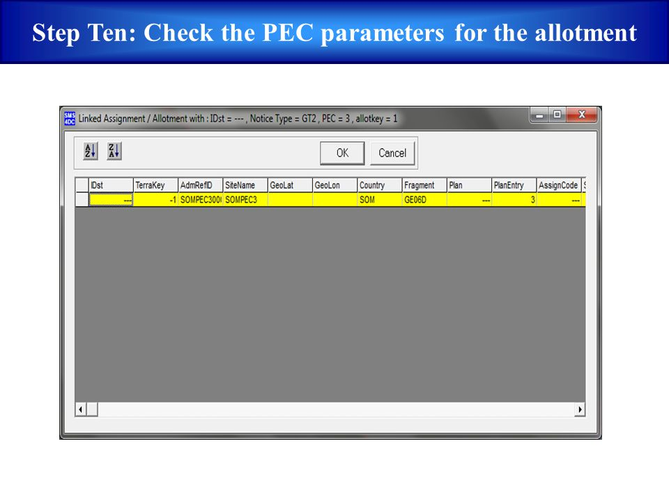 Step Ten: Check the PEC parameters for the allotment