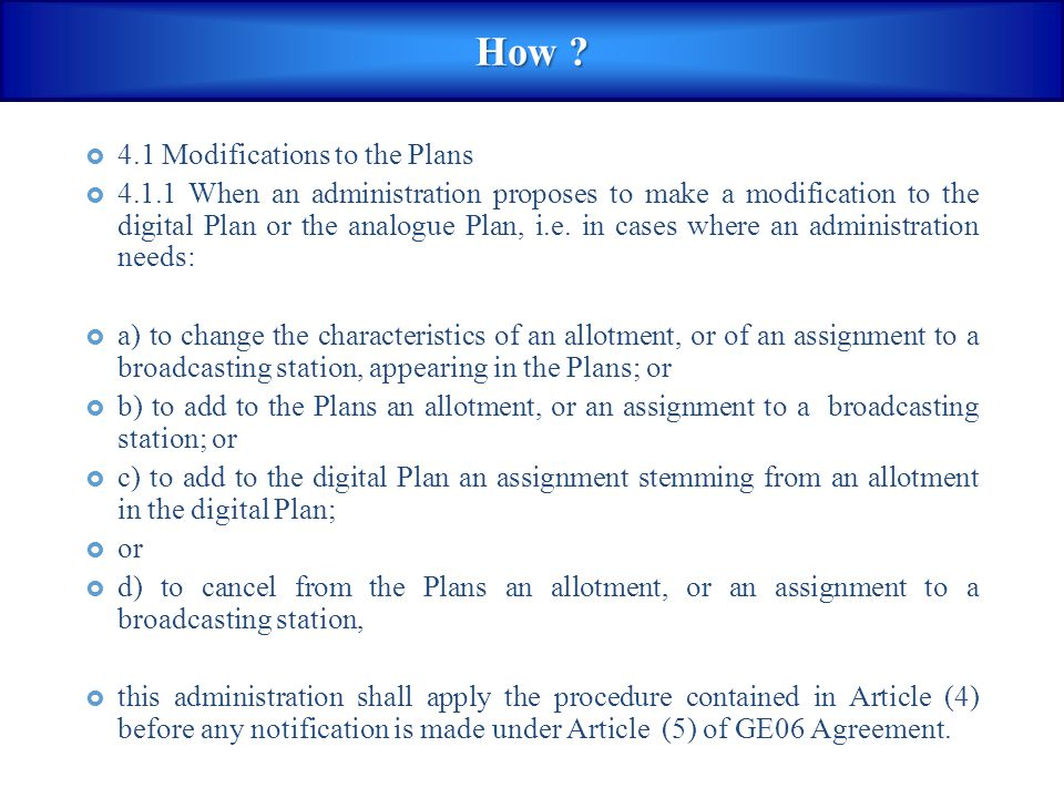 How 4.1 Modifications to the Plans