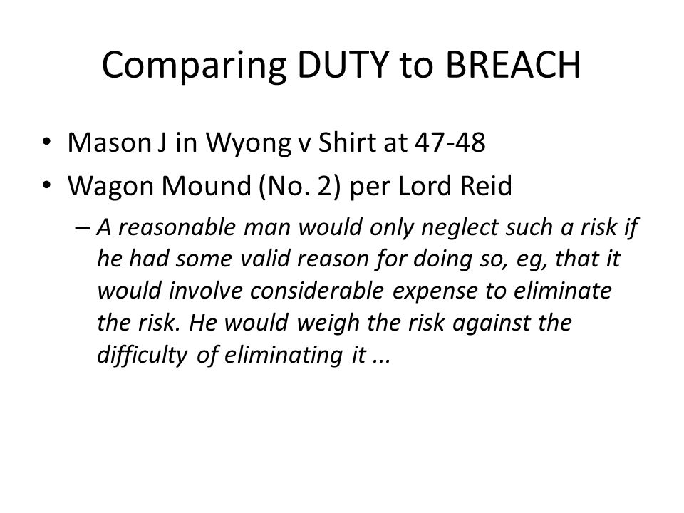 Comparing DUTY to BREACH