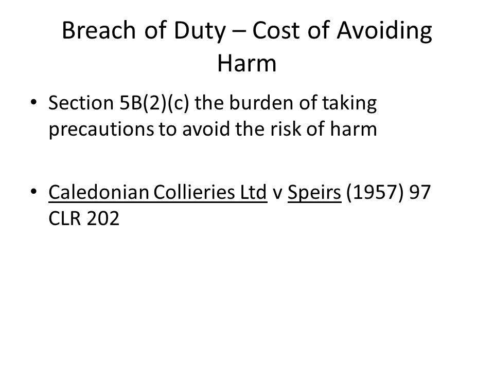 Breach of Duty – Cost of Avoiding Harm