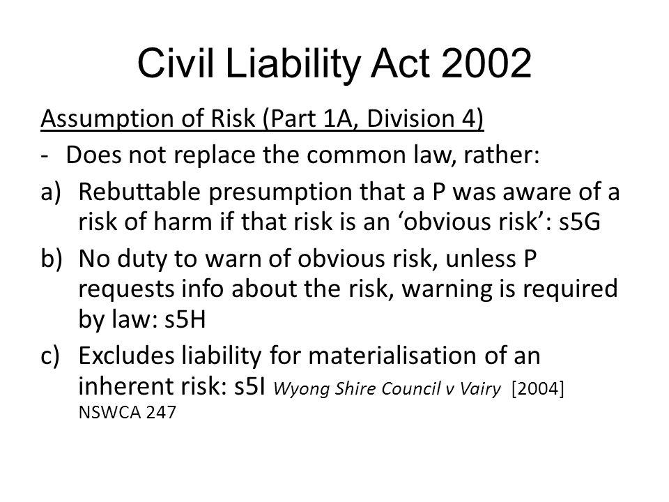 Civil Liability Act 2002 Assumption of Risk (Part 1A, Division 4)