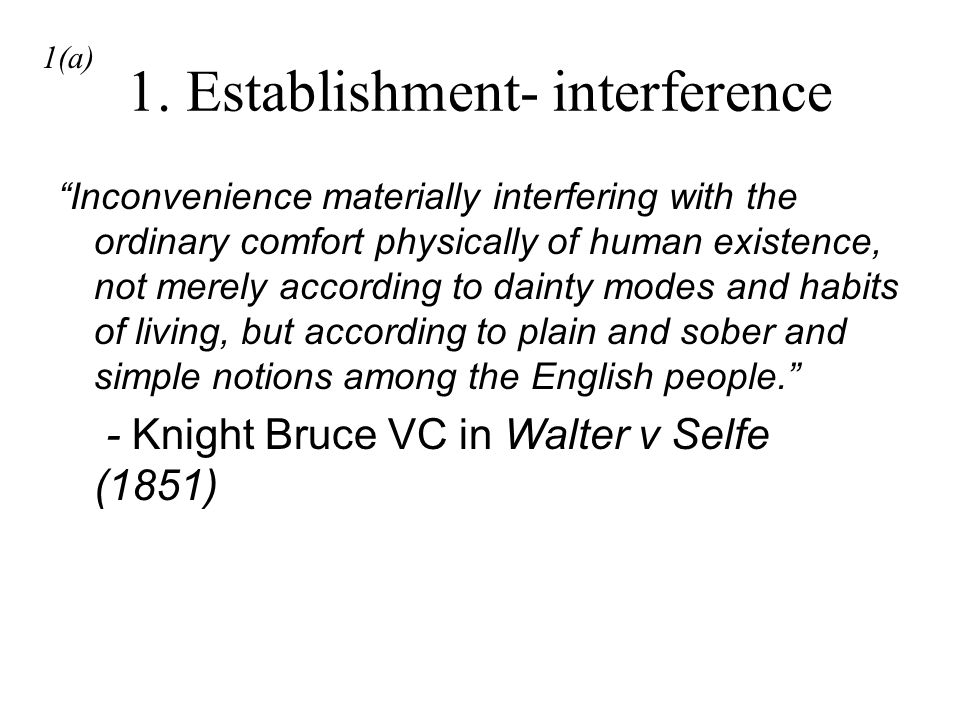 1. Establishment- interference