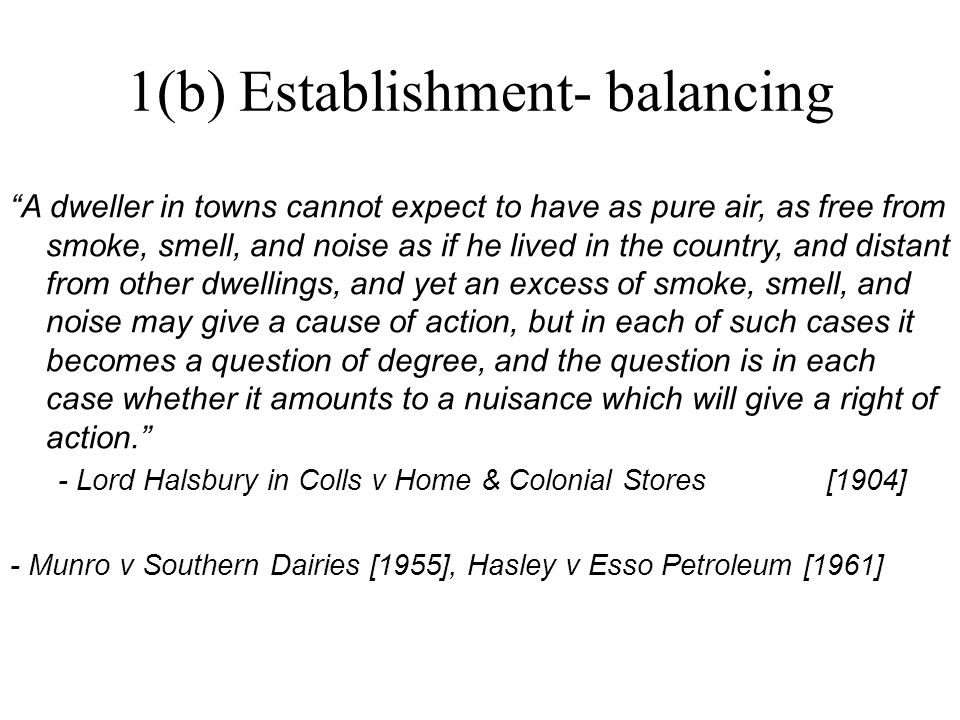 1(b) Establishment- balancing