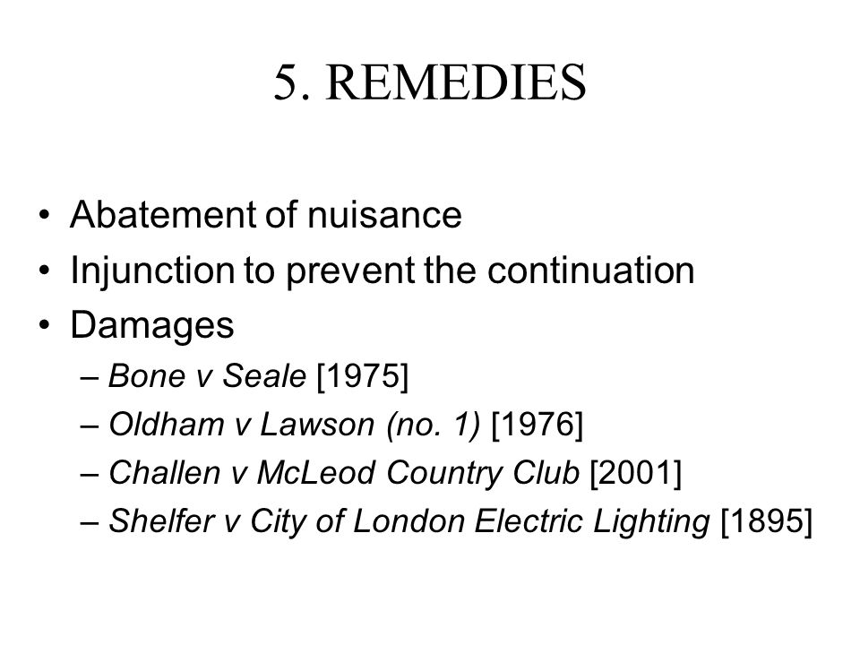 5. REMEDIES Abatement of nuisance