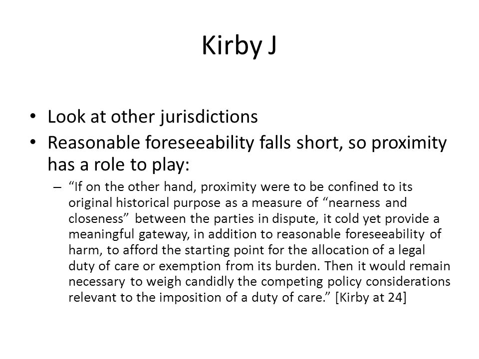 Kirby J Look at other jurisdictions