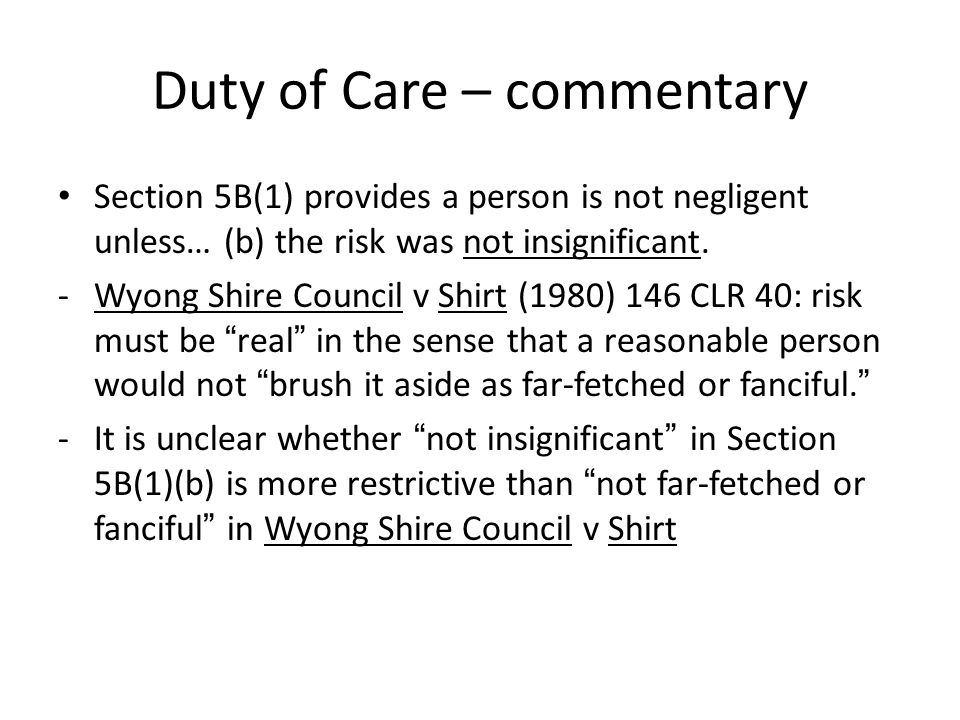 Duty of Care – commentary