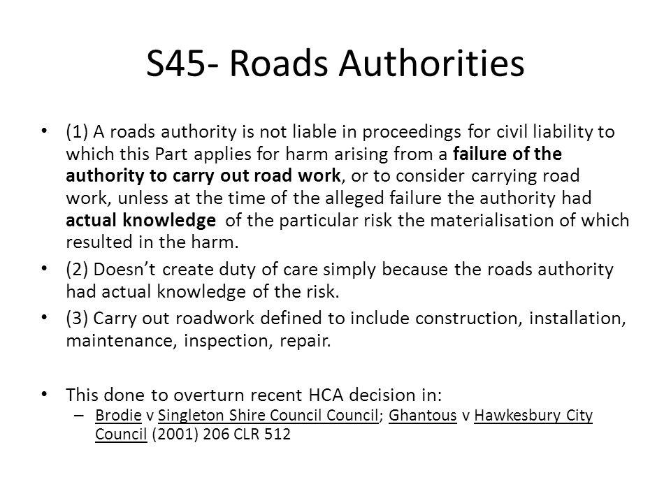S45- Roads Authorities