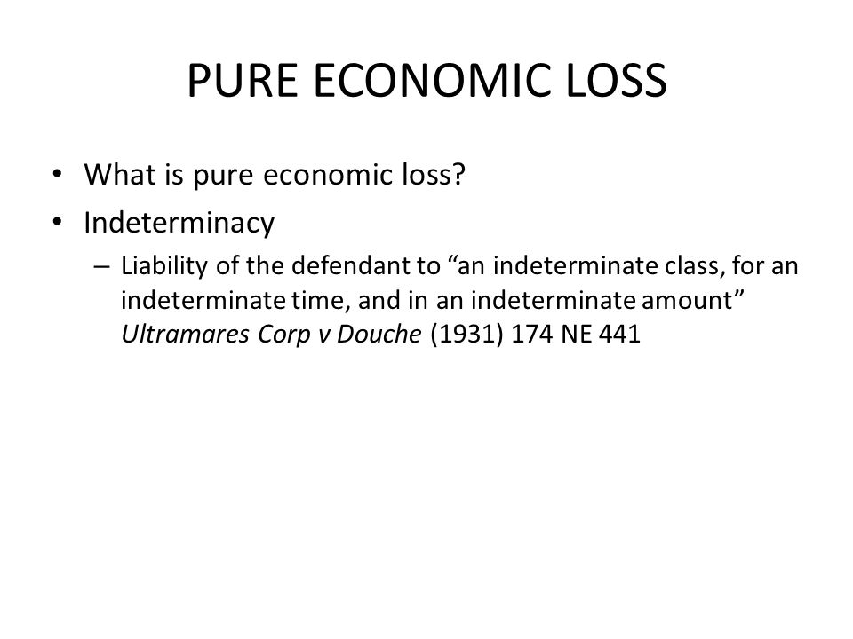 PURE ECONOMIC LOSS What is pure economic loss Indeterminacy