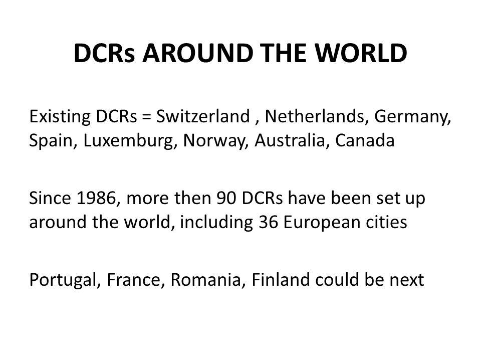 DCRs AROUND THE WORLD Existing DCRs = Switzerland , Netherlands, Germany, Spain, Luxemburg, Norway, Australia, Canada.