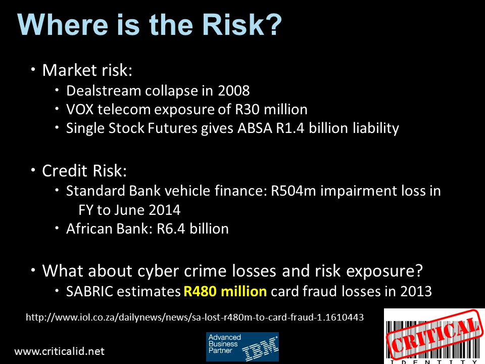 Where is the Risk Market risk: Credit Risk: