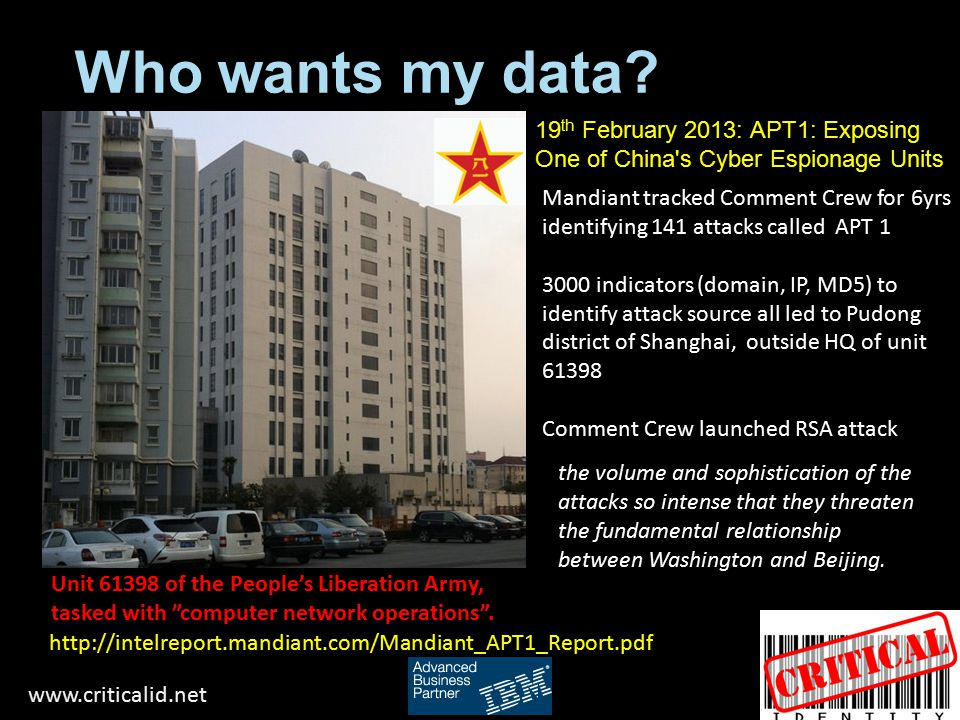 Who wants my data 19th February 2013: APT1: Exposing One of China s Cyber Espionage Units.