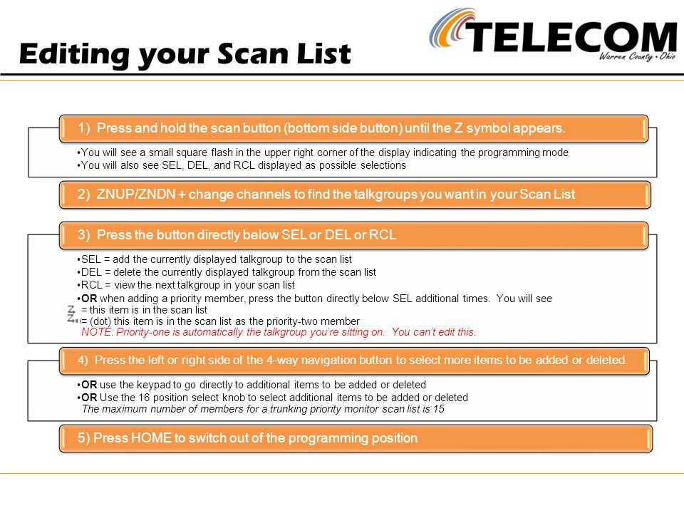 Editing your Scan List 1) Press and hold the scan button (bottom side button) until the Z symbol appears.
