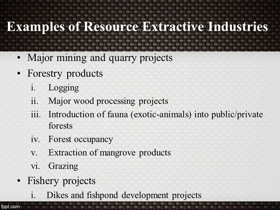 Examples of Resource Extractive Industries