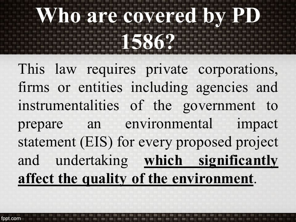 Who are covered by PD 1586