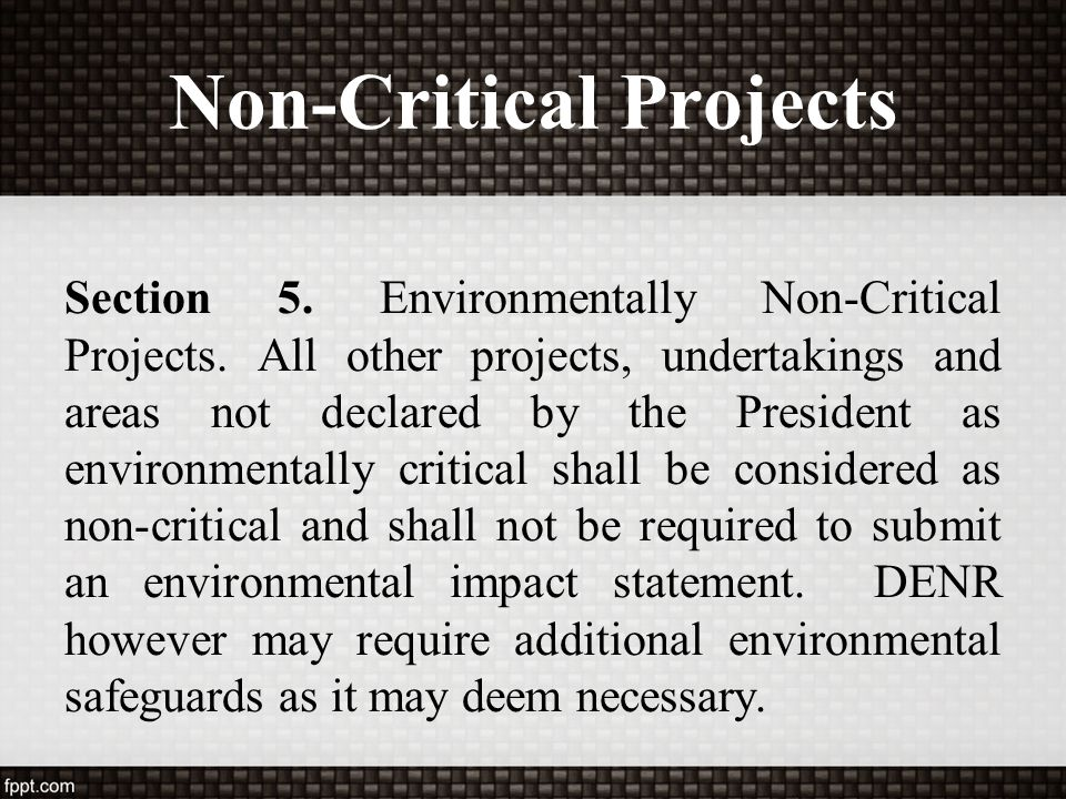 Non-Critical Projects