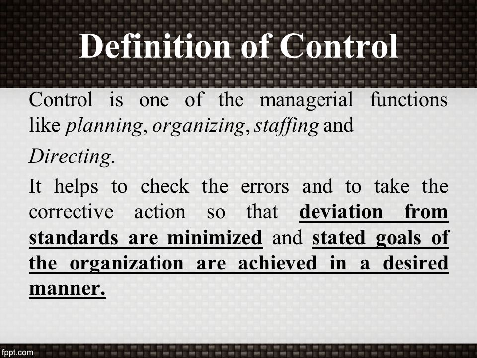 Definition of Control