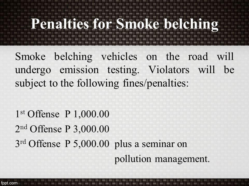 Penalties for Smoke belching