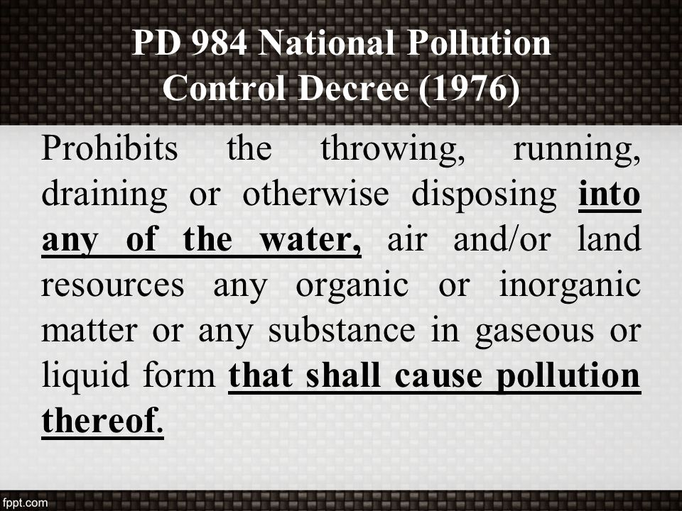 PD 984 National Pollution Control Decree (1976)