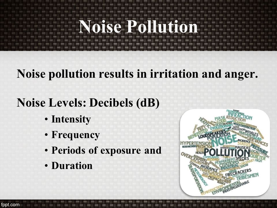 Noise Pollution Noise pollution results in irritation and anger.