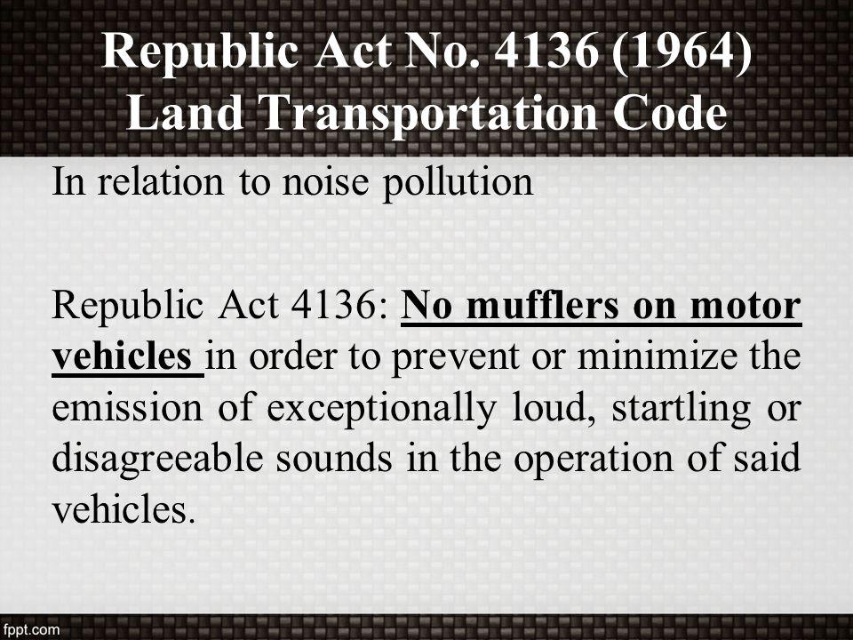 Republic Act No. 4136 (1964) Land Transportation Code