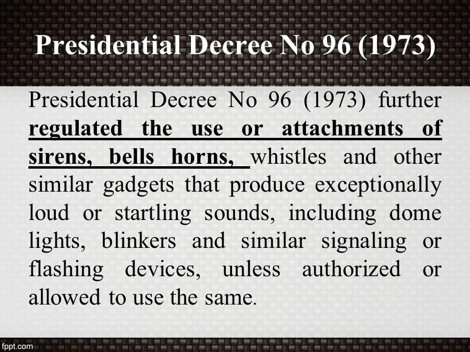 Presidential Decree No 96 (1973)