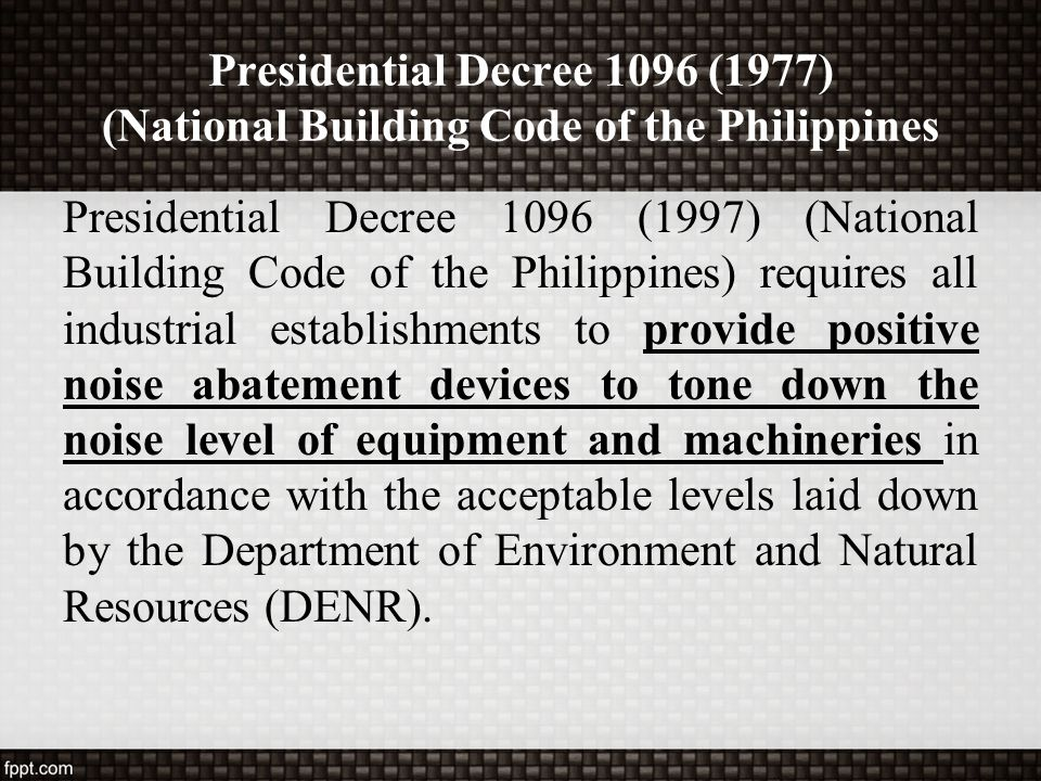 Presidential Decree 1096 (1977) (National Building Code of the Philippines