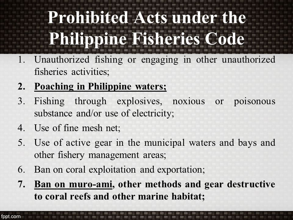 Prohibited Acts under the Philippine Fisheries Code