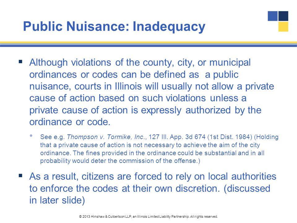 Public Nuisance: Inadequacy