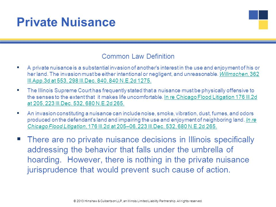 Private Nuisance Common Law Definition.