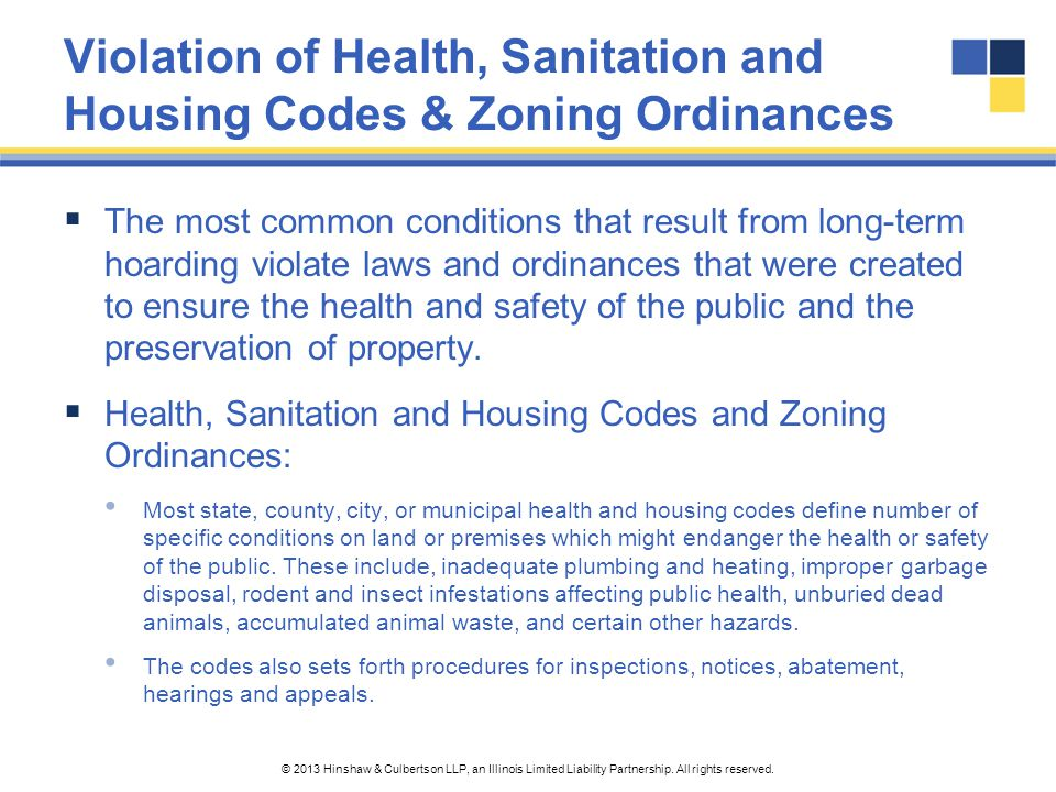 Violation of Health, Sanitation and Housing Codes & Zoning Ordinances