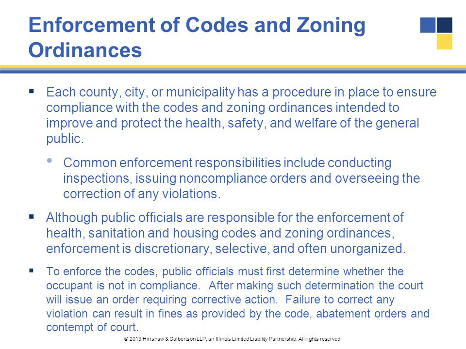 Enforcement of Codes and Zoning Ordinances