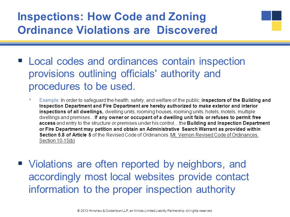 Inspections: How Code and Zoning Ordinance Violations are Discovered
