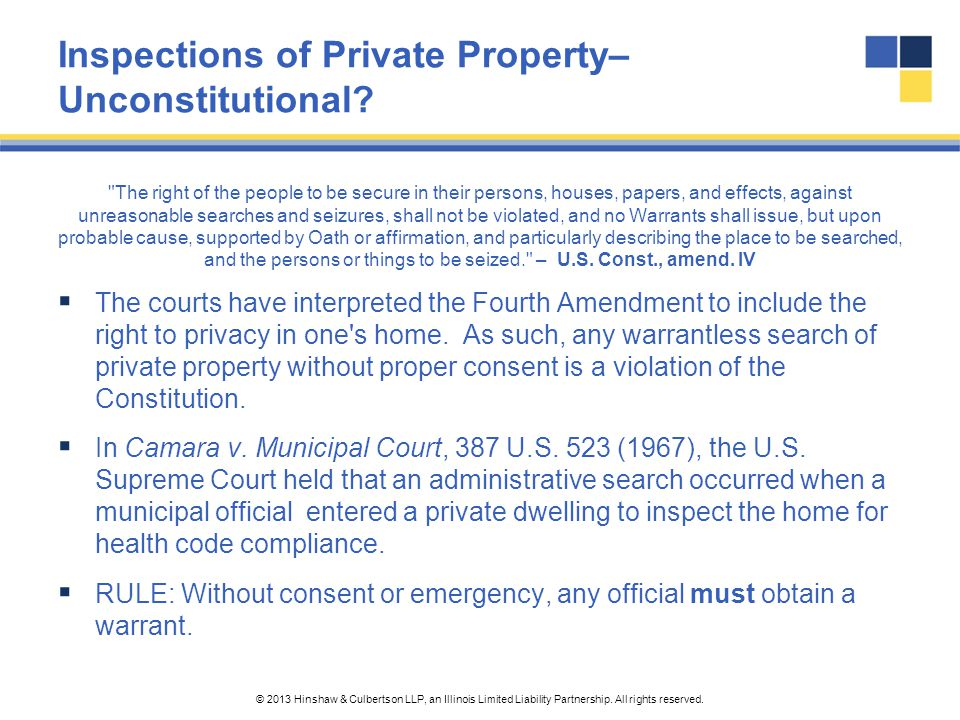 Inspections of Private Property– Unconstitutional