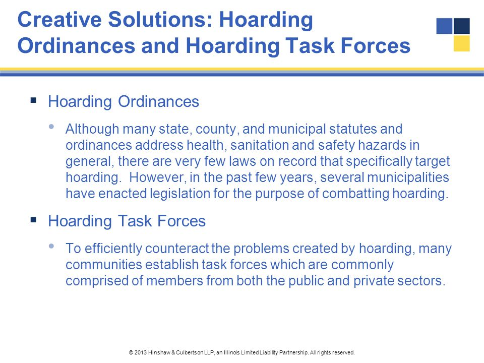 Creative Solutions: Hoarding Ordinances and Hoarding Task Forces