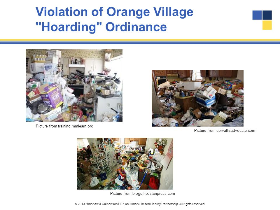 Violation of Orange Village Hoarding Ordinance