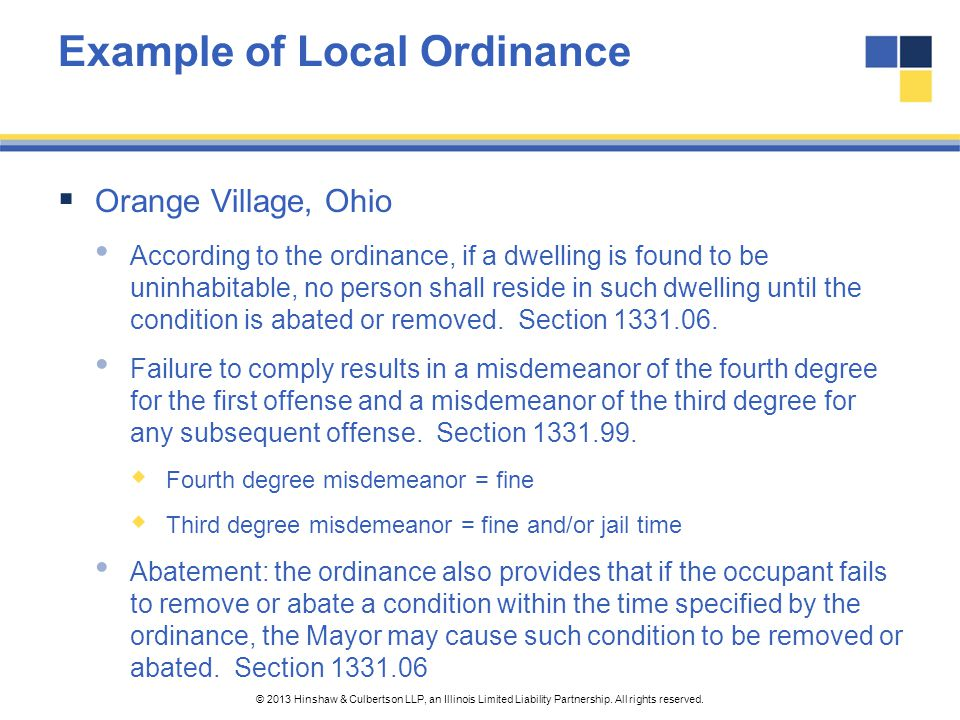 Example of Local Ordinance
