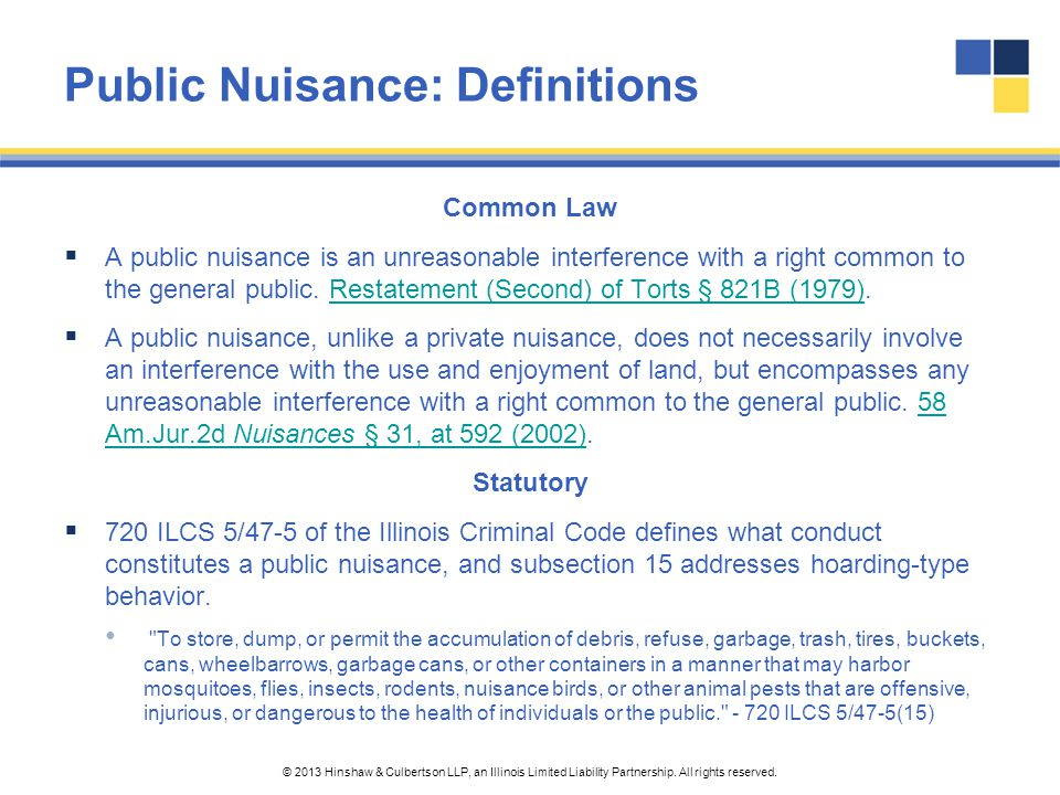 Public Nuisance: Definitions