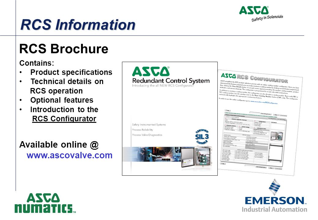 RCS Information RCS Brochure Available online @ www.ascovalve.com