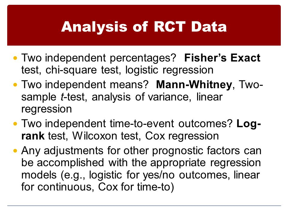 Analysis of RCT Data Two independent percentages Fisher's Exact test, chi-square test, logistic regression.