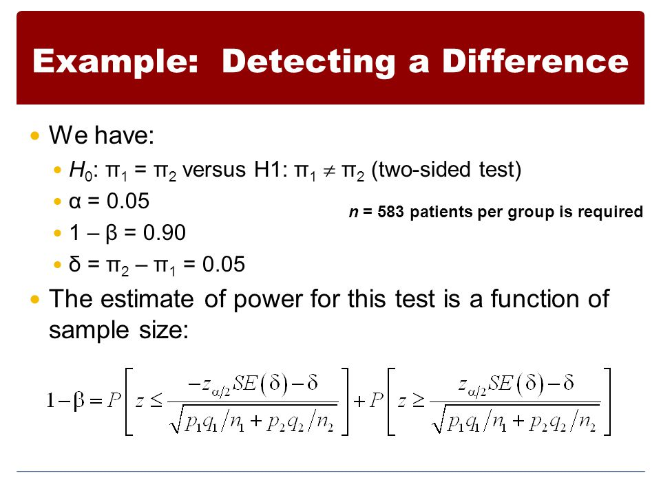 Example: Detecting a Difference