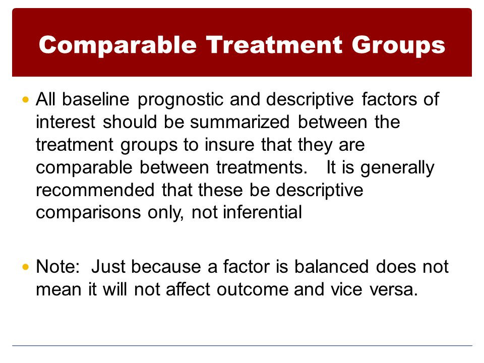 Comparable Treatment Groups