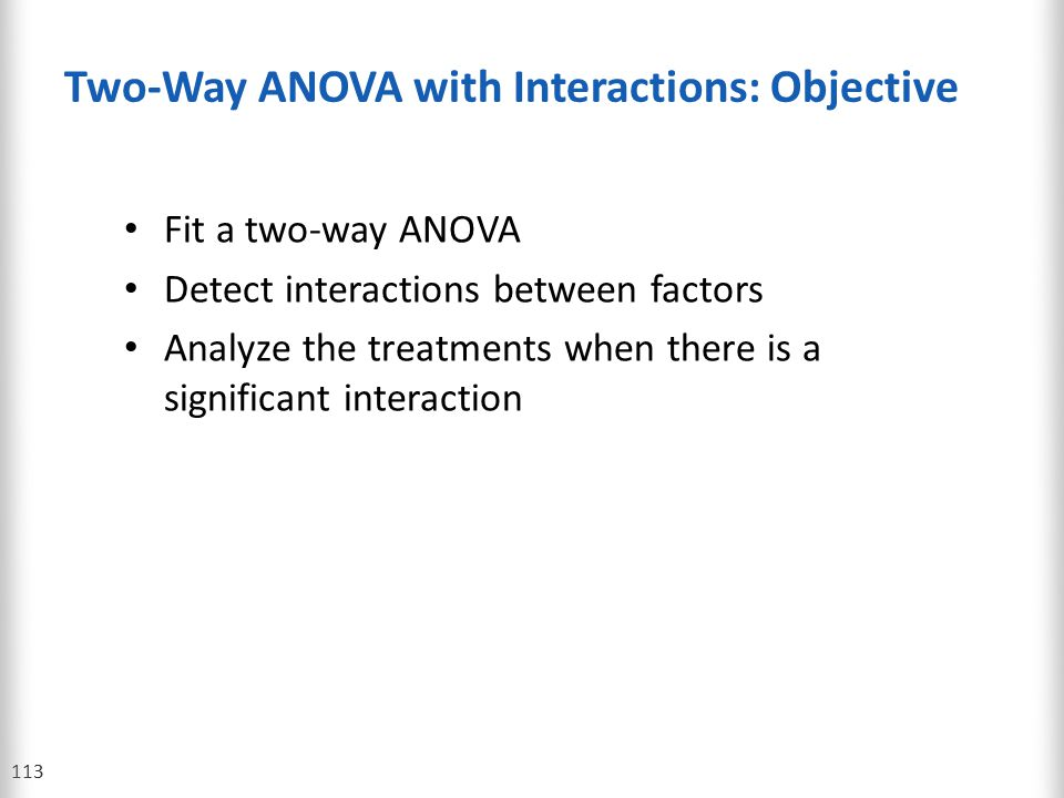 Two-Way ANOVA with Interactions: Objective