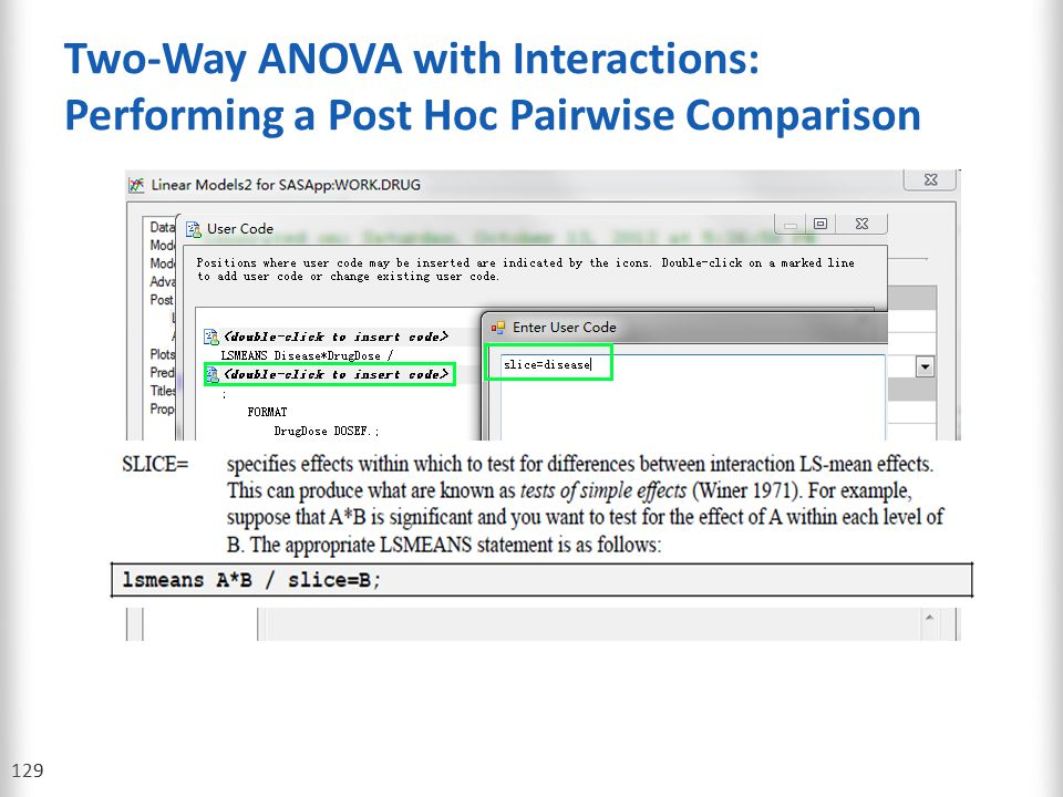 Two-Way ANOVA with Interactions: Performing a Post Hoc Pairwise Comparison