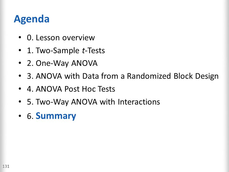 Agenda 0. Lesson overview 1. Two-Sample t-Tests 2. One-Way ANOVA