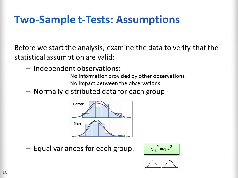Two-Sample t-Tests: Assumptions
