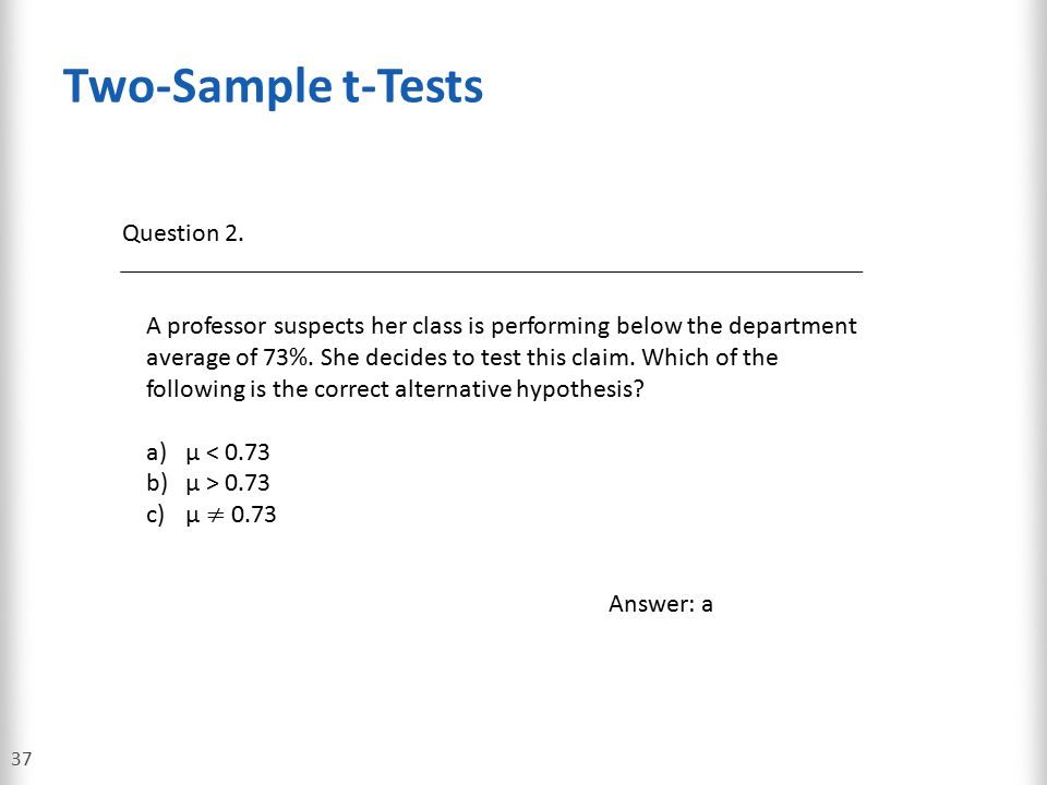 Two-Sample t-Tests Question 2.