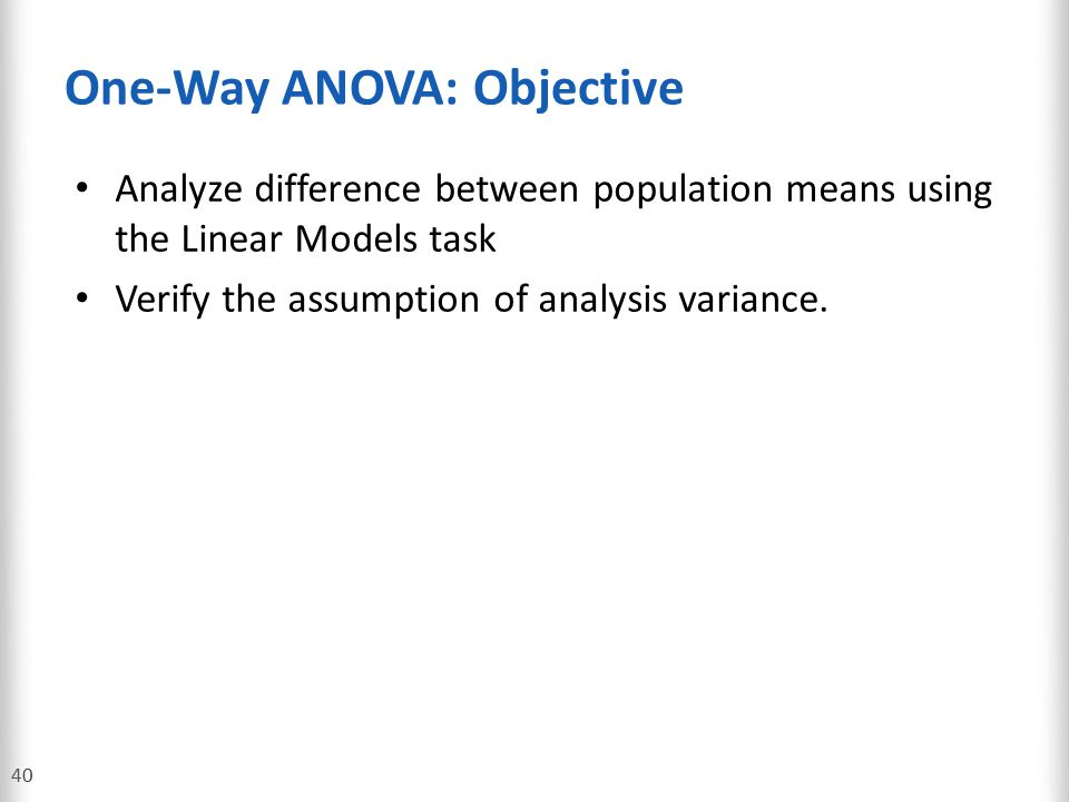 One-Way ANOVA: Objective